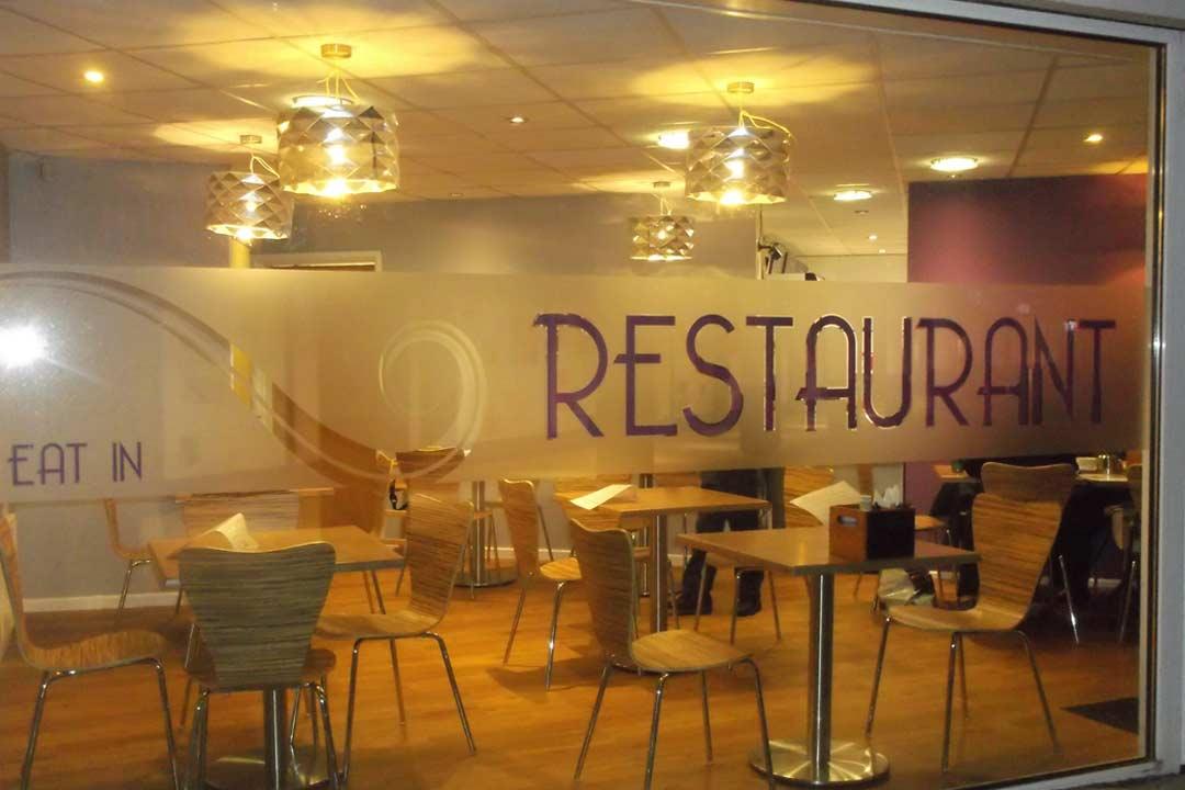 Window film knebworth service am signs herts for Restaurant window design